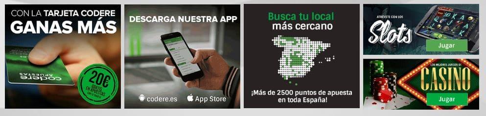 Tarjeta codere/Descarga la app/ Slots y casino